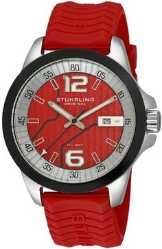 Stuhrling Original Men's 219B.3316H40 Octane Concorso D'Italiano Swiss Quartz Date Red Watch Stuhrling Original. $96.99. Red dial with silvertone markers and date complication. Polished stainless steel round case with black beveled bezel. Protective Krysterna crystal with designed caseback. Water-resistant to 165 feet (50 M). Red textured silicon rubber strap