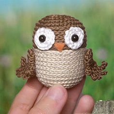 Amigurumi Upcycle Kinder Surprise plastic eggs and let them become funny Owl (in English and Italian). Crochet Birds, Crochet For Kids, Crochet Animals, Crochet Crafts, Crochet Projects, Crochet Amigurumi, Amigurumi Doll, Crochet Yarn, Free Crochet