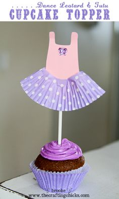Easy Paper Dance Leotard Cupcake Toppers