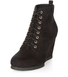 Black Lace Up Wedge Boots
