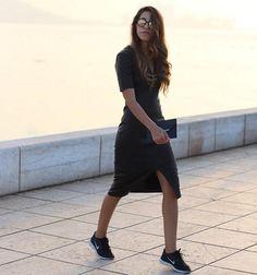 Fadela Mecheri wearing Baukjen Gibson Leather Dress   https://www.baukjen.com/shop/Gibson-Leather-Dress-Caviar-Black.htm