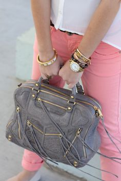 Gray Rebecca Minkoff bag ... mixed with pink and gold. I have that watch! It's fabulous!!