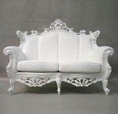 King of sofas; white rococo two seater