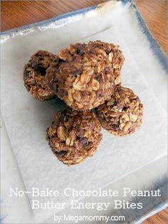 No-Bake Chocolate Peanut Butter Energy Bites | Megamommy.com