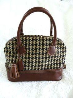 J Crew Brown Herringbone Leather Carpet Bag Satchel Handbag Purse | eBay