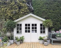 """794 Likes, 12 Comments - Simply Vintage White (@simplyvintagewhite) on Instagram: """" : @rvk_loves #summerhouse #decking #zincplanters"""""""
