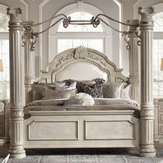 Aico Monte Carlo II   Silver Pearl Queen Canopy Bed Only 1 Left