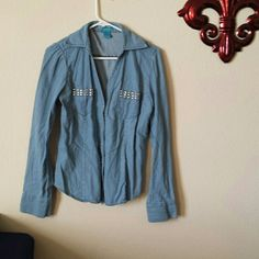Jean jacket Comfy, button up Jean jacket Tops Button Down Shirts