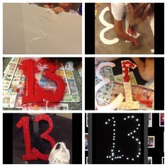 it's really easy. So with cardboard you draw a 13 (or whatever you want) and cut it out with a knife. We then spray painted it red because that the name of Taylor swift album (but you can spray paint it whatever color) and you can't see the spray paint in the dark. Turn it to the back. Then with a pencil, poke holes and put the wire of lights in the holes and duck tape them (they are also called poster lights.)