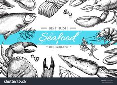Vector Vintage Seafood Restaurant Illustration.Hand Drawn Banner. Great For Meny, Banner, Flyer, Card, Seafood Business Promote. - 313971863 : Shutterstock