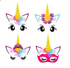 Unicorn Faces - pdf,png & SVG, DXF cut file, Printable Digital, flowers, lashes- Instant Download-Unicorn SVG-Mask-Tiara-Closed eyes-Unicorn by SparkleVinylLAZYI on Etsy