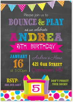 Girl Bounce House Invitations, Pump It Up Invitations, Bright Bunting Bounce House, 35620