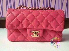 Chanel Pink Lambskin Brushed Gold Mini Classic Flap Bag 2013