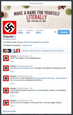 Chipotle website www.chipotle.com and Twitter account @ChipotleTweets hacked by Nazi crazies on Feb 8, 2015. #yikes #burritohack