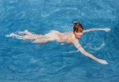 Maureen the mermaid 30x40cm Seascape Paintings, Landscape Paintings, Painter Artist, Classic Paintings, Sunshine Coast, Australian Artists, Figure Painting, Gouache, Mermaid