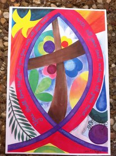 Ichthys and cross original art print, christian symbols, colorful christian art print, religious gif Christian Symbols, Christian Art, Ichthys, Original Art, Original Paintings, Cross Art, Thing 1, Church Banners, Fish Print