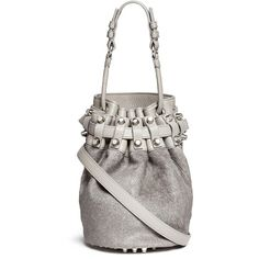 Alexander Wang 'Diego' small calf hair panel leather bucket bag ($1,275) ❤ liked on Polyvore featuring bags, handbags, shoulder bags, grey, leather purse, studded shoulder bag, grey purse, genuine leather shoulder bag and grey leather handbags
