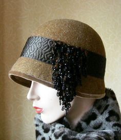 Amber cloche with fabulous French vintage chenille embellishment BY RITA MCVINNIE #millinery #hats #HatAcademy