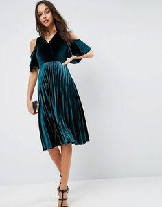 ASOS | ASOS Cold Shoulder Velvet Pleated Midi Dress