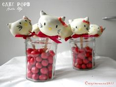 Hello kitty cake pops!    More cake pop ideas here:  http://www.bakerella.com/category/pops-bites/cake-pops/