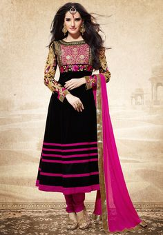 #Black Faux Georgette #Churidar Kameez #OnlineShopping: KCR5597