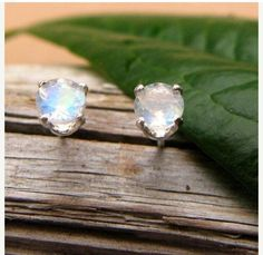 Blue Moonstone Stud Earrings in Gold Silver or Platinum with