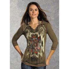 Panhandle Slim Women's Aztec Green Shirts - Knit Tops - Women's Shirts - Women's Western Clothing - Womens