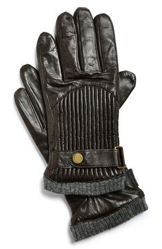 Men's fashion | Leather moto-inspired gloves.