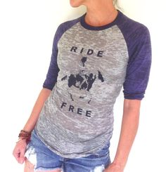 RIDE FREE  -  Paint Horse Equestrian Graphic  -  Grey & Navy Super Soft Burnout Baseball Tee on Etsy, $32.00