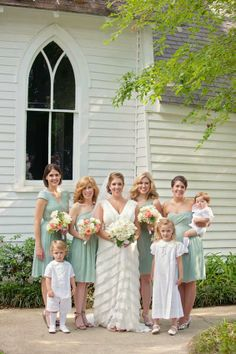 Sea foam green bridesmaid dresses in different styles