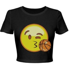 Emoji Basketball Crop Top | OOhhh, I see you girl! Getting flirty with this emoji crop top. Does your boyfriend or crush play basketball? Blow him a basketball kiss from the stands with this cute and trendy crop top shirt. He'll feel the love all the way from the court. Great for any girl who loves the game too. #basketball #emoji