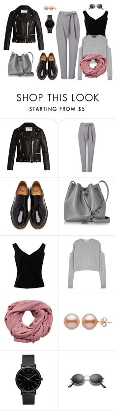 """casual outgoing pink grey black with rock coat"" by explorer-15040930178 on Polyvore featuring мода, Acne Studios, Phase Eight, Dr. Martens, Lancaster, ADAM, McQ by Alexander McQueen, MANGO и ROSEFIELD"