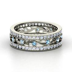 14K White Gold Ring with Blue Topaz & Diamond - Sea Spray Band | Gemvara