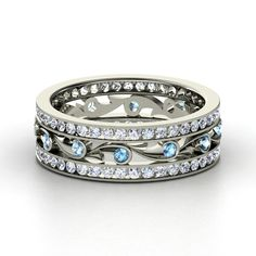 14K White Gold Ring with Blue Topaz & Diamond - Sea Spray Band | Gemvara