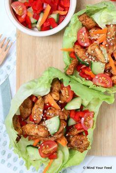 Sla wraps met kip, rauwkost en tzatziki Lettuce wraps with chicken, raw vegetables and tzatziki recipes lettuce wraps with chicken Tzatziki, Healthy Cooking, Healthy Snacks, Healthy Eating, Healthy Recipes, Delicious Recipes, Comida Keto, Lunch Wraps, Raw Vegetables