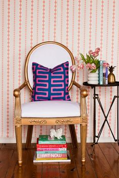 Kimberly Lewis Home in Society Social (I love the gilt gold chair! Geometric Pillow, Of Wallpaper, Striped Wallpaper, Interiores Design, Vignettes, Interior Inspiration, Interior And Exterior, Living Spaces, Living Room