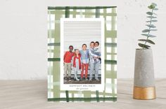 Rad Plaid Holiday Photo Cards / Modern, Preppy Watercolor Christmas Cards