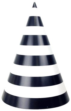 Party Cone Hats 12pcs Striped Black