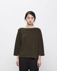 Shop Moderne on La Garconne, an online fashion retailer specializing in the elegantly understated. Indie Hipster, Go Shopping, Boat Neck, Fashion Online, Luxury Fashion, Ready To Wear, Bell Sleeve Top, Turtle Neck, Tunic Tops