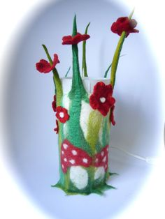 """Table Lamp cover  """"Toadstool""""  Wet Felted.Fairy light,Bedside,Nightlight.Waldorf."""