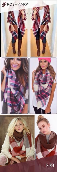 """❣️4 COLORS❣️ Plaid Oversized Tartan Blanket Scarf My bestsellers of last year is now back in action! So comfy and soft and perfect for the upcoming chilly seasons! Available in mustard and pink/green and red 58x58"""". $25 each when I bundle both colors. 100% acrylic. You choose your size at checkout. If you want to bundle, find another one of these in my closet and you can save 10% on two Accessories Scarves & Wraps"""