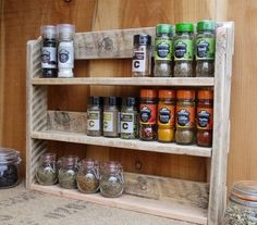 Large Rustic Spice Shelf / Kitchen Spice Rack / Herb Cabinet Made From Pallet Wood – 3 Finishes Available.