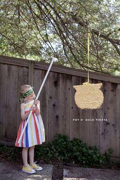 Pot of Gold Pinata DIY & Rainbow Yarn Trail | Oh Happy Day!