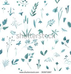 Stock Images similar to ID 228416923 - watercolor floral seamless. Illustrations, Floral Watercolor, Images, Plants, Photos, Weddings, Pictures, Illustration, Plant