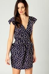 Elizabeth Bird Print Cap Sleeve Wrap I would add a tan slouch bag and pink ballet pumps!