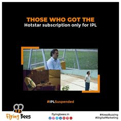 It's difficult to see one of the most anticipated events in the Country suspended due to Corona. Even the Bio-bubble is not safe. So stay indoor, stay safe and get your jab as soon as possible. That's the only way. #Memes #IPL #IPLMemes #IPLSuspended #IPLCancelled #topical #topicalpost #business #businesssolution #socialmediamarketing #digitalmarketing #socialmedia #marketing #memesmarketing #flyingbeessurat #flyingbeesuk Social Media Marketing, Digital Marketing, The Only Way, Stay Safe, Bubble, You Got This, Bee, Indoor, Events