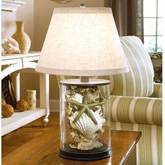 Cool...fill a glass lamp base with sea shells and set a picture of ...