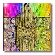 3dRose - Jos Fauxtographee Abstract - Pink, Gold , Yellow and Green Striated and Textured - Wall Clocks