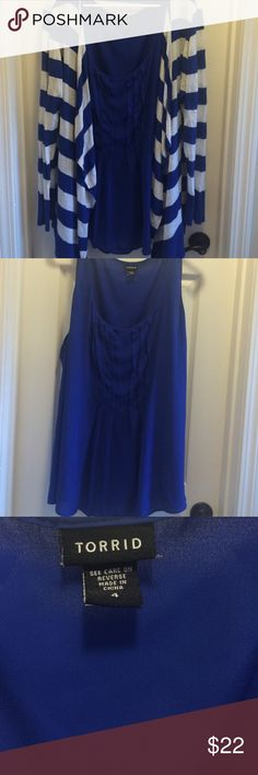 Royal Blue Tank Beautiful royal blue tank with pleated detail down the front.  Lightweight but it's not sheer and it does not stretch.  Great condition. torrid Tops Tank Tops