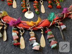 takı tasarım Bijoux Diy, Handmade Jewelry, Beaded Necklace, Drop Earrings, Bracelets, Necklaces, Fabric, Ornaments, Hand Made